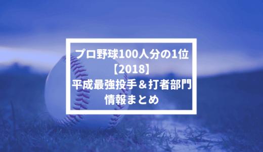 【プロ野球100人分の1位 2018】平成最強投手&打者部門の情報まとめ #100人分の1位