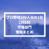 【プロ野球100人分の1位 2018】守備部門の情報まとめ