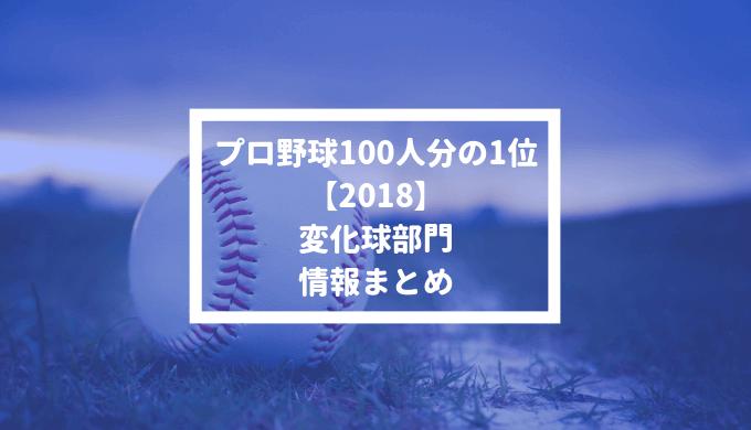 【プロ野球100人分の1位 2018】変化球部門の情報まとめ