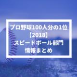 【プロ野球100人分の1位 2018】スピードボール部門の情報まとめ