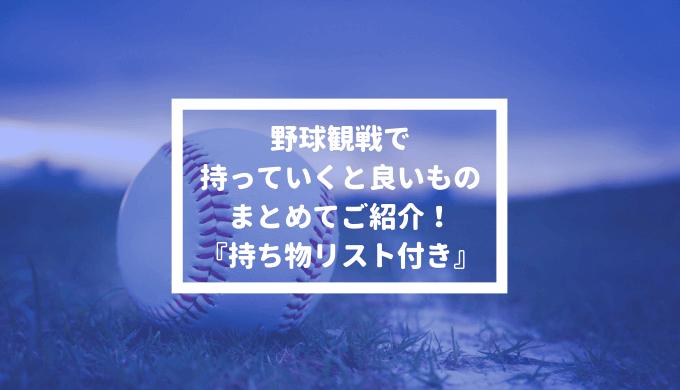 野球観戦 持っていくと良いもの おすすめ アイテム 商品 まとめ 持ち物リスト